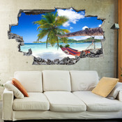 3D Broken Wall Beach Wall Stickers 5302-1009