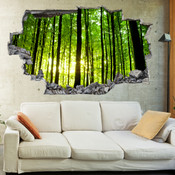 3D Broken Wall Forest Tree Wall Stickers 1010