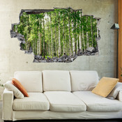 3D Broken Wall Forest Tree Wall Stickers 1012
