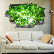 3D Broken Wall Forest Tree Wall Stickers 1013