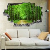3D Broken Wall Forest Tree Wall Stickers 1014