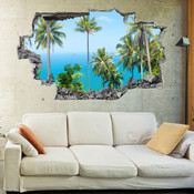 3D Broken Wall Forest Tree Wall Stickers 1016