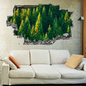 3D Broken Wall Forest Tree Wall Stickers 1017