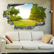 3D Broken Wall Forest Tree Wall Stickers 1018