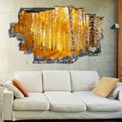 3D Broken Wall Autumn Tree Wall Stickers 1020