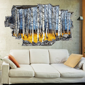 3D Broken Wall Autumn Tree Wall Stickers 1021