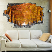 3D Broken Wall Autumn Tree Wall Stickers 1022