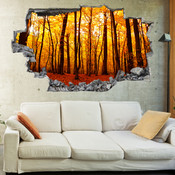 3D Broken Wall Autumn Tree Wall Stickers 1023