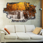 3D Broken Wall Autumn Tree Wall Stickers 1025