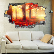 3D Broken Wall Autumn Tree Wall Stickers 1026