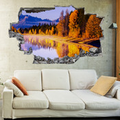 3D Broken Wall Autumn Tree Wall Stickers 1027