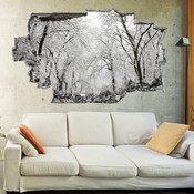 3D Broken Wall Autumn Tree Wall Stickers 1028