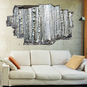 3D Broken Wall Autumn Tree Wall Stickers 1029