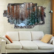 3D Broken Wall Autumn Tree Wall Stickers 1030