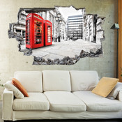 3D Broken Wall London Wall Stickers 5302-1038
