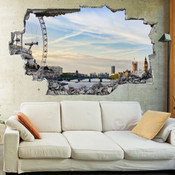3D Broken Wall London Eye Wall Stickers 1043