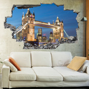 3D Broken Wall London Tower Bridge Wall Stickers 5302-1044