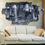 3D Broken Wall New York Wall Stickers 5302-1048