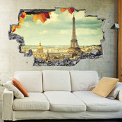 3D Broken Wall Eiffel Tower Wall Stickers 1051