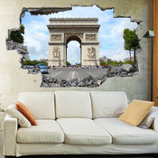 3D Broken Wall Arc de Triomphe Wall Stickers 5302-1053