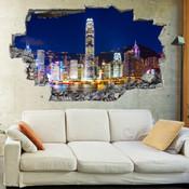 3D Broken Wall Hong Kong Wall Stickers 1057