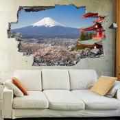 3D Broken Wall Fuji Mountain Wall Stickers 1058