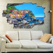 3D Broken Wall Greece Santorini Wall Stickers 1061