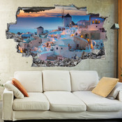 3D Broken Wall Greece Santorini Wall Stickers 1062