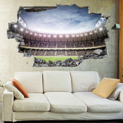3D Broken Wall Football Stadium Wall Stickers 1063