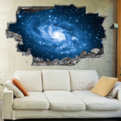 3D Broken Wall Space Galaxy Wall Stickers 5302-1064