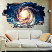 3D Broken Wall Space Galaxy Wall Stickers 1066