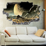 3D Broken Wall Space Galaxy Wall Stickers 1067