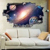 3D Broken Wall Space Galaxy Wall Stickers 1069
