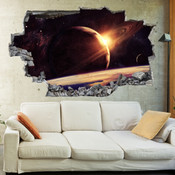 3D Broken Wall Space Galaxy Wall Stickers 1070