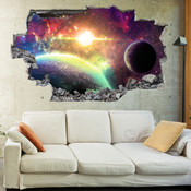 3D Broken Wall Space Galaxy Wall Stickers 1071