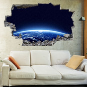3D Broken Wall Space Galaxy Wall Stickers 1072