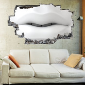 3D Broken Wall White Lip Art Wall Stickers 1076