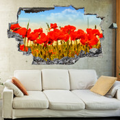 3D Broken Red Poppy Blossom Wall Stickers 1078