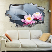 3D Broken Wall Flower Wall Stickers 1079
