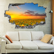 3D Broken Wall Sun Flower Wall Stickers 5302-1080