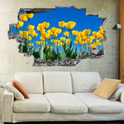 3D Broken Wall  Yellow Tulips Flower Wall Stickers 1082
