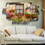 3D Broken Wall Aubretia Flower Wall Stickers 1083