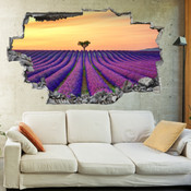3D Broken Wall Field of Lavenders Wall Stickers 1084