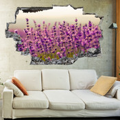 3D Broken Wall Purple Lavenders Wall Stickers 1085