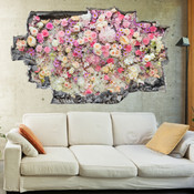 3D Broken Wall Colourful Flowers Wall Stickers 1086
