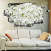 3D Broken Wall White Hydrangea Wall Stickers 1087