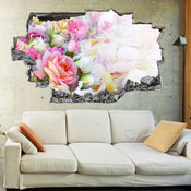 3D Broken Wall Colourful Roses Wall Stickers 1088