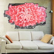 3D Broken Wall Pink Chrysanthemum Flower Wall Stickers 1089