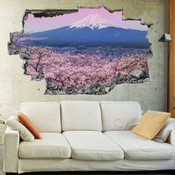 3D Broken Wall Plum Blossom Mount Fuji Wall Stickers 1091