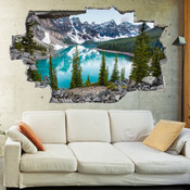 3D Broken Wall Mountain Lake View Wall Stickers 1096